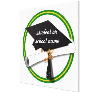School Colors Green & Gold Grad Cap w/Diploma Canvas Print