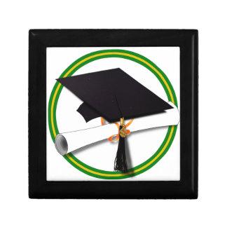 School Colors Green & Gold Grad Cap w/Diploma Jewelry Box