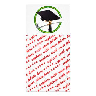 School Colors Green & Gold Grad Cap w/Diploma Photo Card