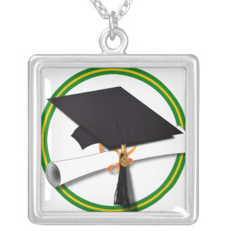 School Colors Green & Gold Grad Cap w/Diploma Silver Plated Necklace