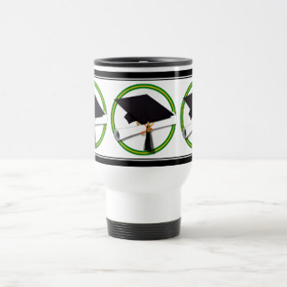 School Colors Green & Gold Grad Cap w/Diploma Travel Mug