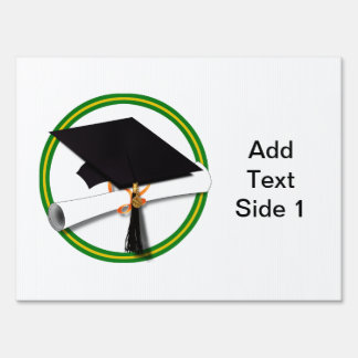 School Colors Green & Gold Grad Cap w/Diploma Yard Sign