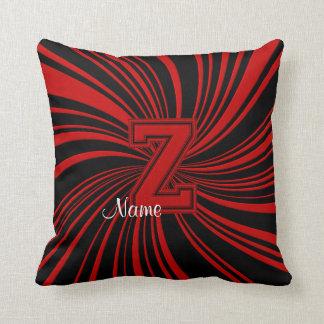 School Colors Monogram Pillow Red-Black Z