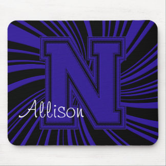School Colors Monogram Twirl Mousepad Blue-Black-N