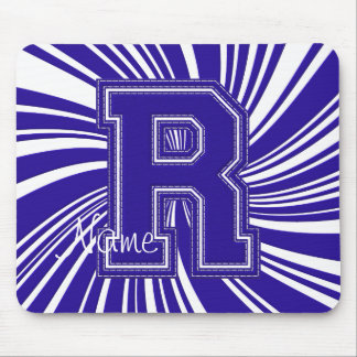 School Colors Monogram Twirl Mousepad Blue White-R