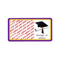 School Colors Purple & Gold Graduation Frame Address Label
