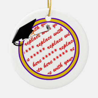 School Colors Purple & Gold Graduation Frame Ceramic Ornament