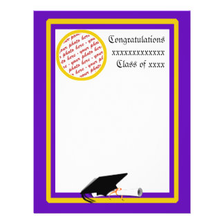 School Colors Purple & Gold Graduation Frame Flyer