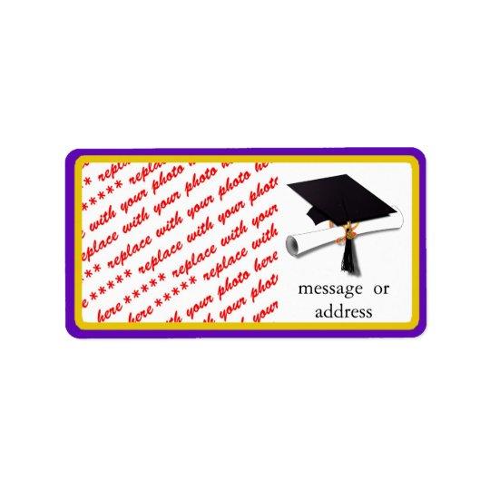 School Colors Purple & Gold Graduation Frame Label