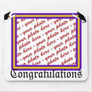 School Colors Purple & Gold Graduation Frame Mouse Pad