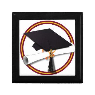 School Colors Red & Gold Grad Cap w/Diploma Gift Box