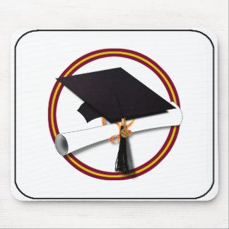 School Colors Red & Gold Grad Cap w/Diploma Mouse Pad