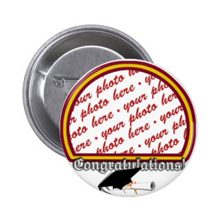 School Colors Red & Gold Graduation Photo Frame Button
