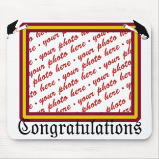 School Colors Red & Gold Graduation Photo Frame Mouse Pad