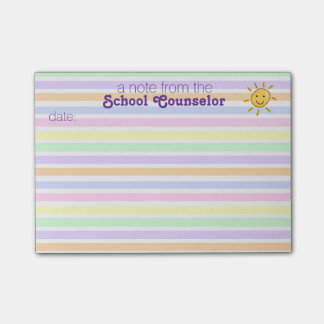 School Counselor Pastel Stripe Post-it® Notes