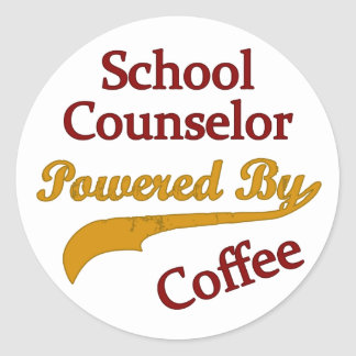 School Counselor Powered By Coffee Classic Round Sticker