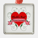 School Counselor Square Metal Christmas Ornament