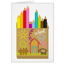 'School' Crayons Card