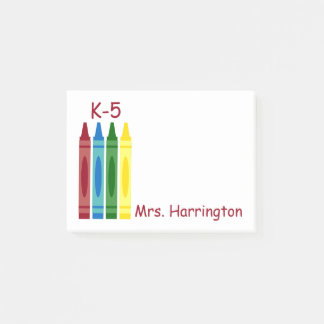 School Crayons Personalized Post-it Notes