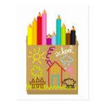 'School' Crayons Postcard