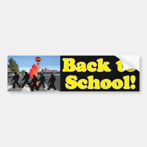 School Crossing Guard Scene Car Bumper Sticker