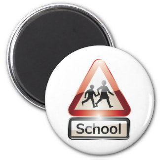 school crossing 2 inch round magnet