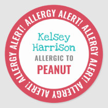 School Daycare Allergy Alert Personalized Kids Classic Round Sticker