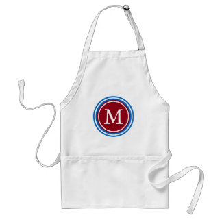School Days Blue and Red Monogram Adult Apron