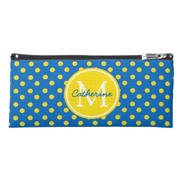 USA Themed School Days Blue and Yellow Polka Dot Monogram Pencil Case