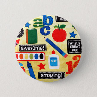 School Days Fabric Print Button