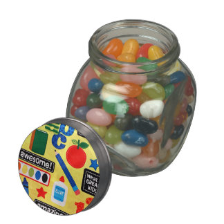 School Days Fabric Print Glass Candy Jar