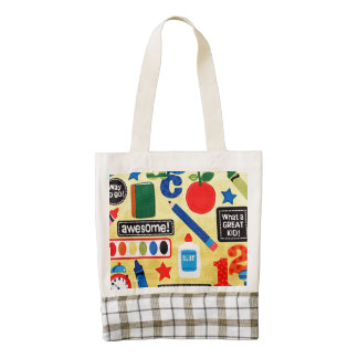 School Days Fabric Print Zazzle HEART Tote Bag