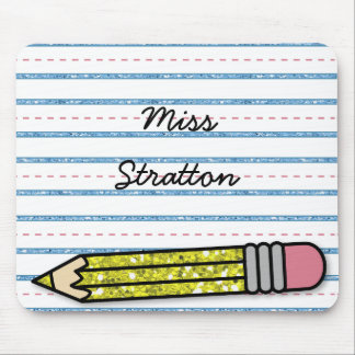 School Days Pencil & Paper Personalized Mousepad