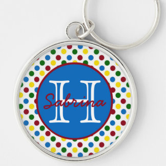 School Days Polka Dots Monogram Keychain