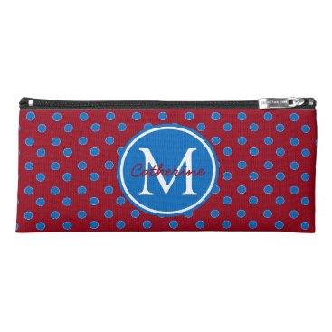 USA Themed School Days Red and Blue Polka Dot Monogram Pencil Case