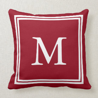 School Days Red with White Double Frame Monogram Throw Pillow