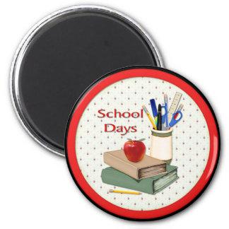 School Days Still Life 2 Inch Round Magnet