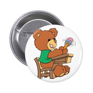 School Days Study Bear Button
