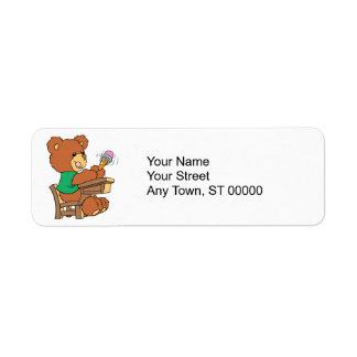 School Days Study Bear Label