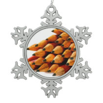 School Days Wooden Pencils Snowflake Pewter Christmas Ornament