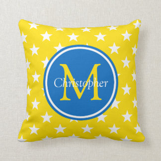 School Days Yellow and Blue Stars Monogram Throw Pillow