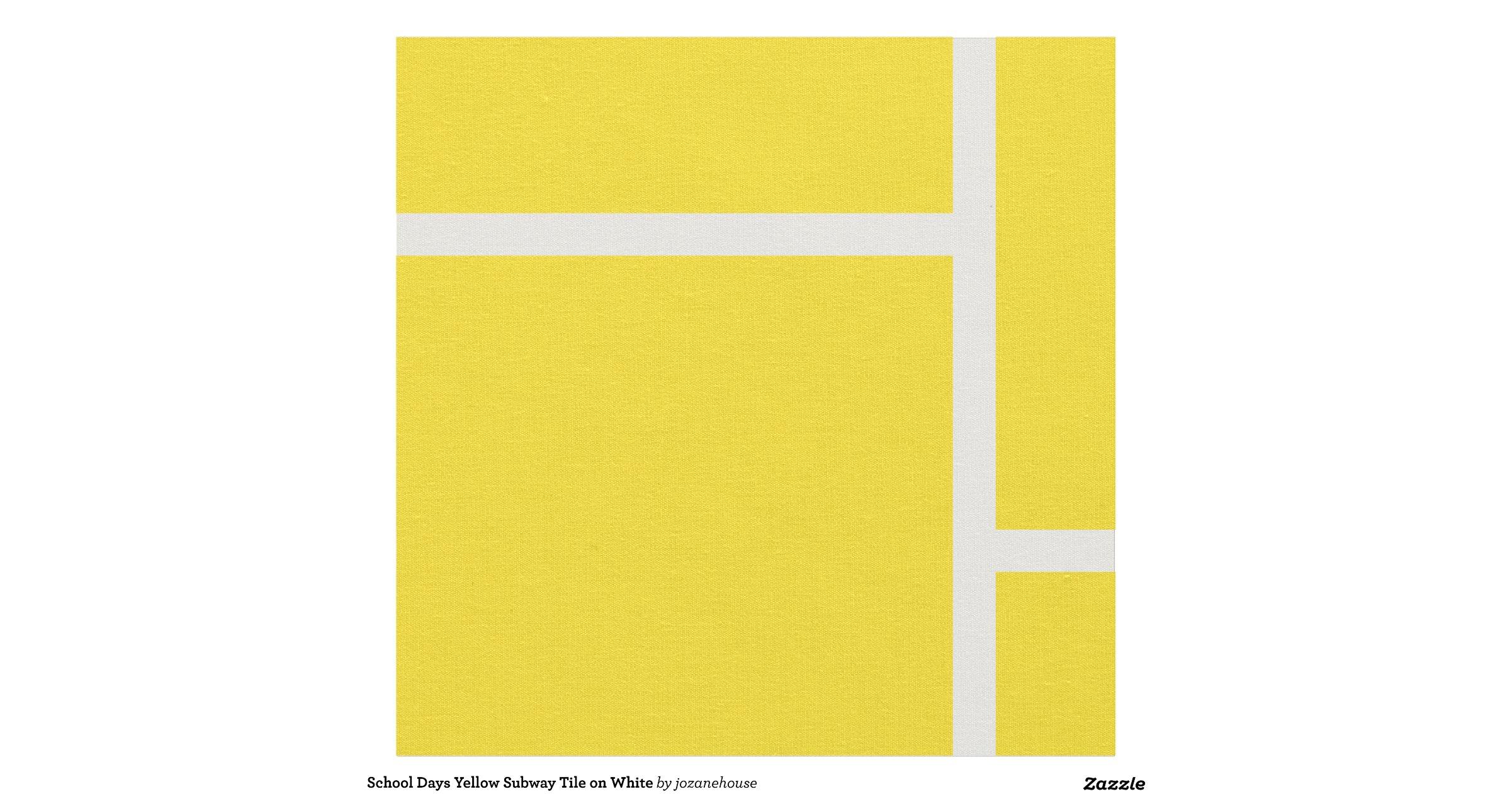 school days yellow subway tile on white fabric