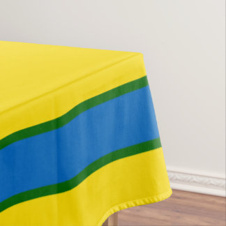 School Days Yellow With Blue And Green Stripe Tablecloth