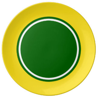 School Days Yellow With Green and White Porcelain Plate