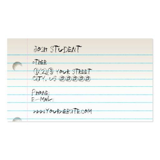 School Daze Profile Card Business Card Templates