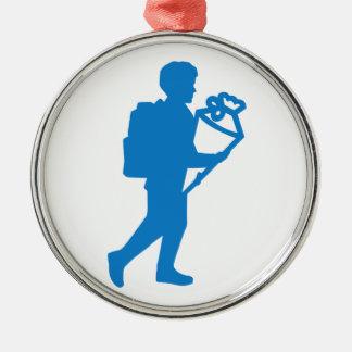 School enrollment boy metal ornament