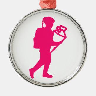 School enrollment girl metal ornament