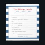 "School Excuse Notepad-Personalized, Blue Stripes Notepad<br><div class=""desc"">A great note pad for those busy school mornings!  Fill in your information on the template-personalize with your family name and children&#39;s names too.  Add your contact information at the bottom.</div>"