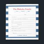 """School Excuse Notepad-Personalized, Blue Stripes Notepad<br><div class=""""desc"""">A great note pad for those busy school mornings!  Fill in your information on the template-personalize with your family name and children&#39;s names too.  Add your contact information at the bottom.</div>"""