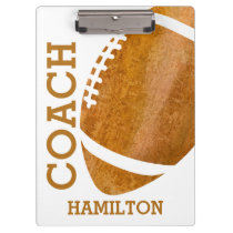 School Football Coach Personalized Retro Trendy Clipboard